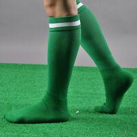 MENS SPORT FOOTBALL SOCCER STRIPED LONG SOCKS KNEE HIGH LARGE HOCKEY RUGBY