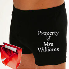 "Boxer shorts LOVE HEART Mens Personalised Wedding Groom Underwear ""PROPERTY OF?"""