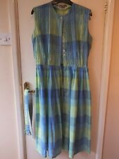 LADIES Blanes couture VINTAGE 60s 1960s  BLUE & GREEN summer DRESS 14 fits UK12