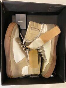 Diesel NIB Black Gold 9 ALEN-MB Mens Casual Leather Sneakers Italy $450.00