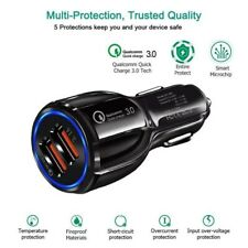 3 Ports Mini Dual USB Car Charger 3.0 Adapter for IOS Android LED Display USA