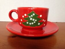 Vintage Waechtersbach Red Christmas Tree Coffee Cocoa Tea Cup & Saucer Set
