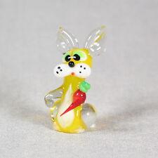 Bunny with carrot Figurine Murano Blown glass Lampwork Handmade