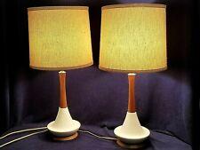 2 Vintage Mid Century Danish Modern Textured Ceramic Teak Wood Lamp Shades