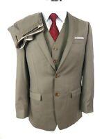 Lauren Ralph Lauren Men's 3-Pc Suit US 40L Taupe Wool Cashmere 2-Btn Flat Vest