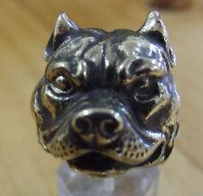 Bronze Pit Bull Biker Ring Custom Size Animal Handmade Dog Collectible R-069b
