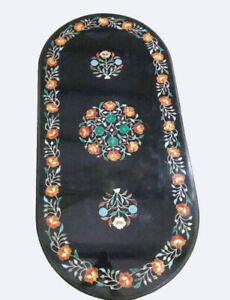 """24""""x48"""" Black Marble Dining Table Carnelian Marquetry Inlay Floral Decors B823A"""
