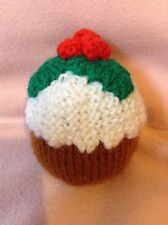 KNITTING PATTERN - Christmas pudding with holly orange cover or 10 cms toy