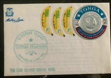 1967 Niuafoou Tonga Toga Tin Can Canoe Mail Cover Matson Line Metallic Stamp