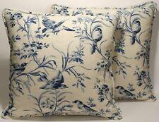 "Set of 2 18"" Indigo Blue Bird Toile Handmade Decorative Throw Pillow Covers"