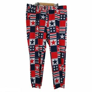 Loudmouth Men's Golf Pants Red White & Blue Patriotic Stars 40x30