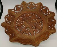 Hand Carved Leaf Pattern Wood Tray/Bowl withGold Wood Inlay Flower Vintage india