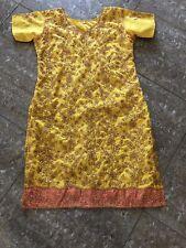 Indian 3-piece Salwar Kameez. Embroided ,with Pyjami and 2 tone dupatta, yellow