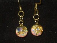 FLOATING FIERY OPALS AND  GOLD SNOW GLOBE  EARRINGS