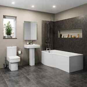 Bathroom Suite P Shaped Bath LH/RH Screen Square Toilet WC Basin Full Pedestal