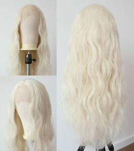 24inch Synthetic hair Lace front wigs Handtied Full Head Blonde Long Curly Wavy