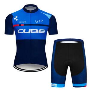 MTB Blue Cycling Jersey Shorts Kits Short Sleeve Riding Shirt Short Pants Sets