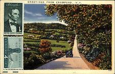 Crompond N.Y. USA frankierte AK ~1950/60 Lanschaftspartie Straße Auto Bäume