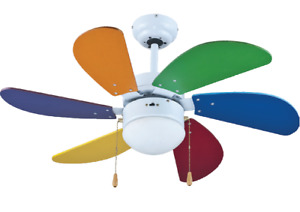 Zephir Ventilatore Lampadario a Soffitto con Luce Pale Colorate 90cm ZFS690C