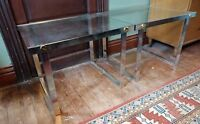 Mid Century Modern Glass-Top Side Table Pair VTG 60-70s Aluminium Retro Design
