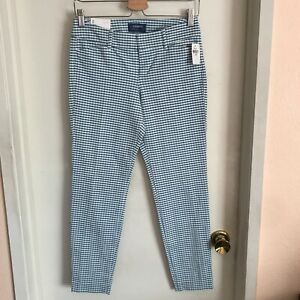 NWT Old Navy Mid-Rise Pixie Ankle Length Plaid Pants White Turquoise  Size 2