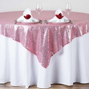"""15 Sequin Table Overlay 54x54"""" inch Sparkly Tablecloth 3 COLORS Wedding Cake USA"""