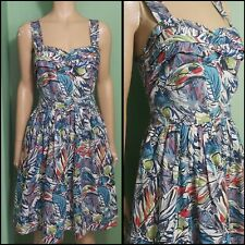 80s Does 50s Pin Up Style Novelty Print Beach Summer Dress