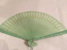 Vintage Mint Green Plastic Hand Fan made in Hong Kong Lacy design