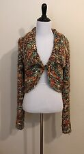 Free People Size L One Button Colorful Chunky Knit Bolero Cardigan Shrug Sweater