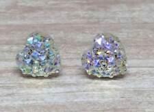 Earrings Women Girls Fashion Gift Party White Ab Glitter Heart Silver Stud