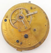 "RARE 1800's ""ALEXANDER SMITH, INVERURIE, SCOTLAND"" FUSEE POCKET WATCH MOVEMENT."