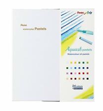 Pentel Aquash Watercolour Oil Pastels Assorted Colours + Brush - Pack 24
