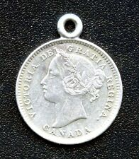 Antique Canada Victoria 10 Cent Silver Love Token With Initials
