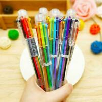 Multi-color 6 in 1 Color Ballpoint Pen Ball Point Pens HOT Office Kids US B0Y8