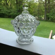 Smocking Pattern Covered Sugar Bowl - 1840's Flint Glass