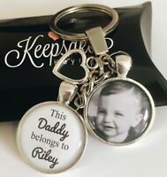 Personalised Photo Keyring - White - Belongs to - Birthday Present Christmas Box