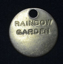 30mm Rainbow Garden Fob brass plaque tag vintage