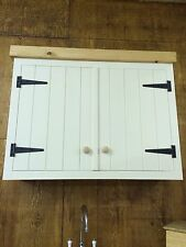 Double Solid Pine Rusic Kitchen Wall Unit Cupboard Cabinet With Pine Pelmet