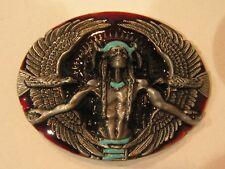 Native American Indian Medicine Man Belt Buckle Eagle + Headdress Background new