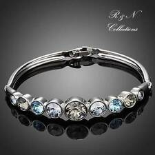 Platinum Plated Simple Style Colorful Made W/Swarovski Crystals Bangle(B385-25)