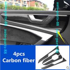 4x Carbon fiber Interior Door Handle Armrest Stripe Cover trim For Audi A7 2019