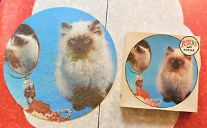 "Vintage 1960's Fairchild 19"" Round 650 Piece Jigsaw Puzzle Blue Eyed Kitten"