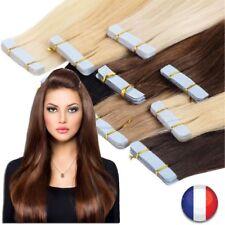EXTENSION TAPE BANDE ADHESIVE CHEVEUX 100% NATURELS REMY HAIR 53 CM AUX CHOIX