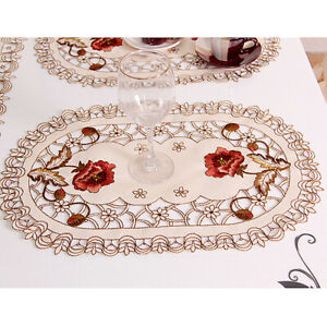 Set of 4 Oval Floral Placemats White Embroidered Lace Doilies Table Runner Mats