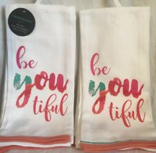Cynthia Rowley Be You Tiful 'Beautiful' Set of 2 Kitchen Towel NWT!