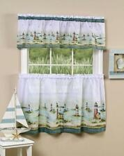 Hamptons  - Tier & Valance Set /  lighthouses sand and sea kitchen curtain Blue