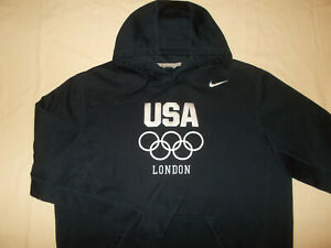 NIKE USA LONDON OLYMPICS DARK NAVY BLUE HOODED SWEATSHIRT MENS XL EXCELLENT