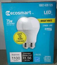 2 EcoSmart 75 Watt Equiv A19 Dimmable Energy Star LED Light Bulb Bright White