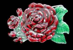 BEAUTIFUL STAND ALONE ROSE BELT BUCKLE FINE PEWTER COLORED NEW!