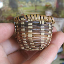 Vtg Dollhouse WICKER BASKET Miniature Handmade Antique? Artisan Food Knitting